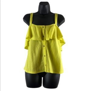 Gianni Bini Tops - gianni bini ruffle top XL button front yellow